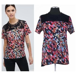 🆕 French Connection - Eleanor Lace Mixed Media Printed Top